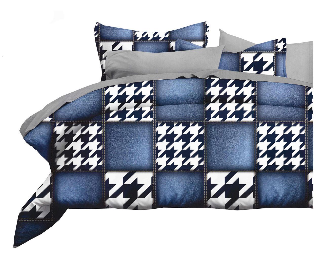 Комплект постельного белья Микроволокно HXDD-754 M&M 9729 Белый, Черный, Синий