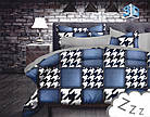 Комплект постельного белья Микроволокно HXDD-754 M&M 9729 Белый, Черный, Синий, фото 2