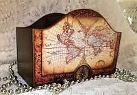 Пультовница, карандашница, органайзер для расчёсок, ручная работа, карта, мужской подарок