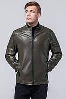 Осенне-весенняя куртка цвета хаки мужская из экокожи модель Braggart Youth