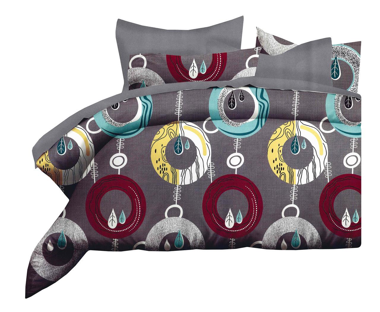 Комплект постельного белья Микроволокно HXDD-758 M&M 0725 Красный, Желтый, Серый