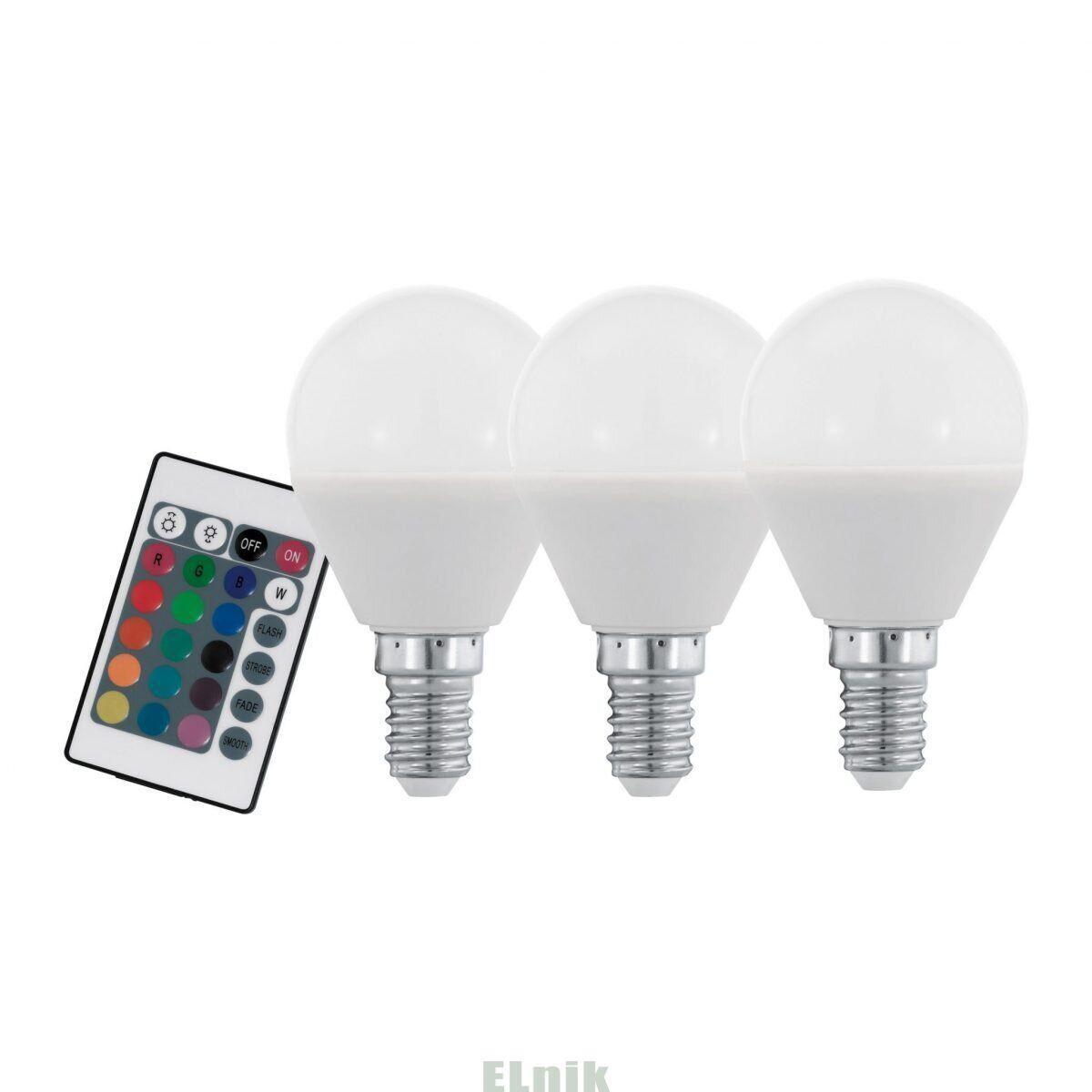 Лампа светодиодная диммируемая RGB с пультом LM LED E14 3000K, Eglo [10683]