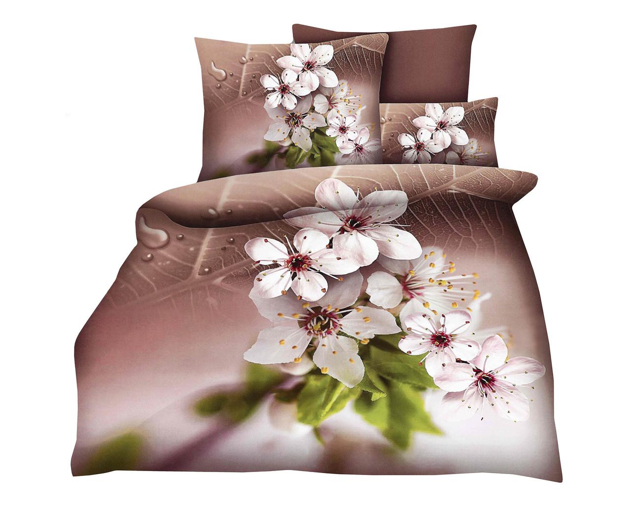 Комплект постельного белья Микроволокно HXDD-752 С цветочным узором M&M 0947 Бежевый, Кремовый, Коричневый