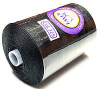 Нить армированная Черная 28/2 (325тон) полиэфирное волокно 2500м Kiwi