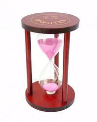 Песочные часы 15 минут на круглой деревянной подставке розовый песок