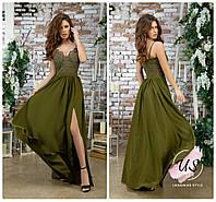 Длинное вечернее  шелковое платье с вышитым корсетом. цвета!