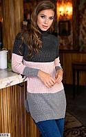 Женский свитер удлиненный в полоску 61216