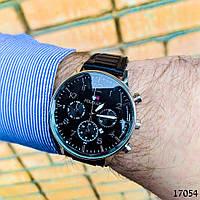 Часы мужские в стиле Tommy Hilfiger. Мужские наручные часы черного цвета. Часы стальные. Годинник чоловічий