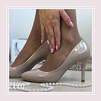 Женские туфли лодочки, светлый беж лак, фото 1