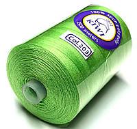 Нить армированная Светло зеленая 28/2 (203тон) полиэфирное волокно 2500м Kiwi
