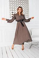 Женское длинное расклешенное платье из креп-шифона