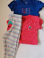 Детский комплект из трех вещей для маленькой модницы, боди, штаники Carter's Размер 12М (70-78 см рост)