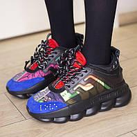 Женские кроссовки Versace Chain Reaction Sneakers 1в1 Как Оригинал! ТОП (ААА+)