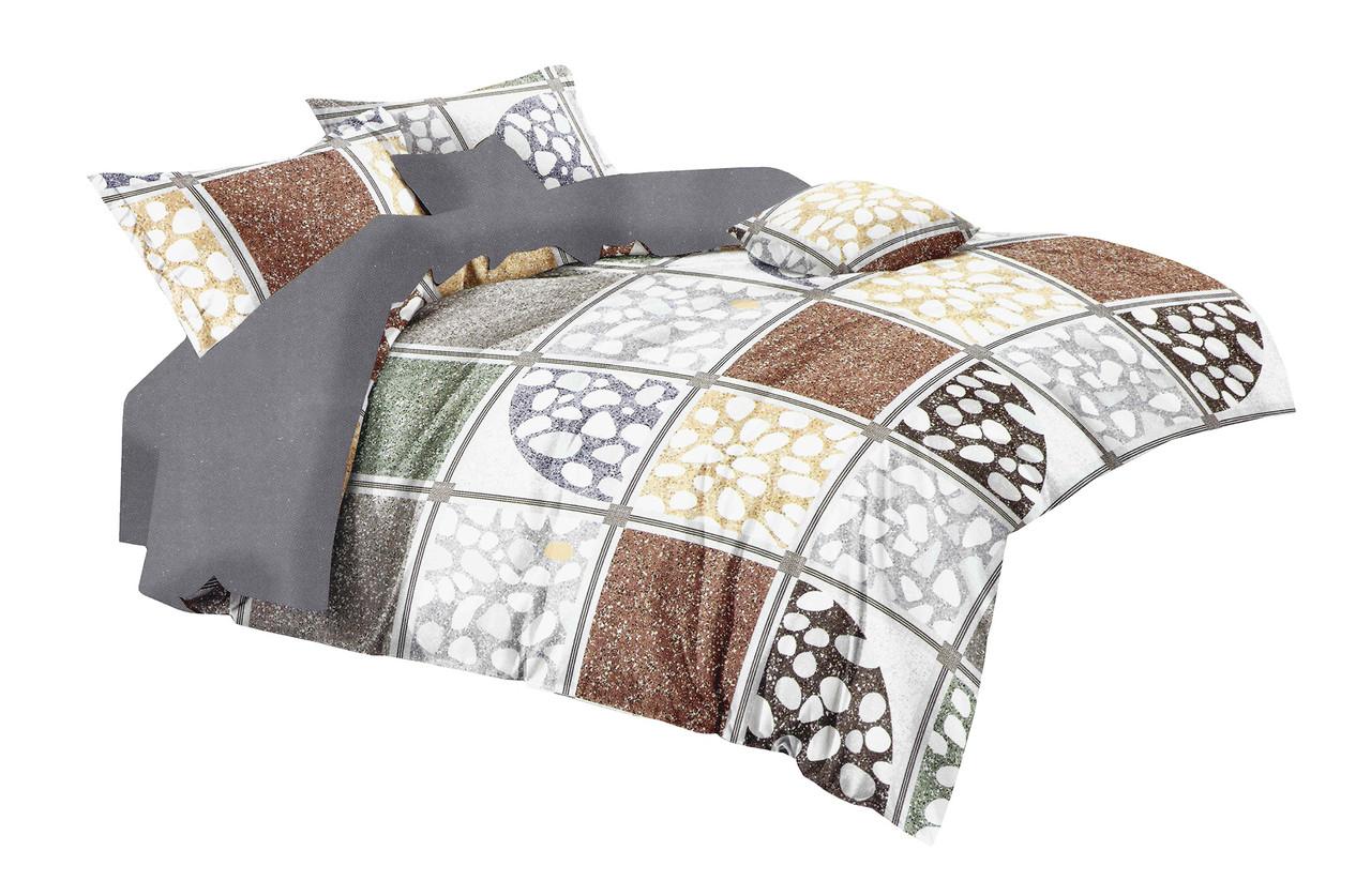 Комплект постельного белья Микроволокно HXDD-760 M&M 1098 Бежевый, Коричневый, Серый