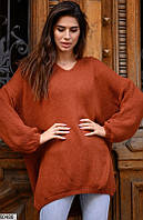 Женский свитер однотонный терракотовый 60486