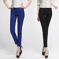 Утонченные брюки-карандаш синего цвета, S/M, стрейч