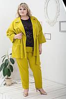 Летний женский костюм Алена зеленое яблоко (58-64)