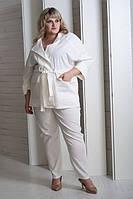 Женский льняной костюм Алена айвори (58-64)
