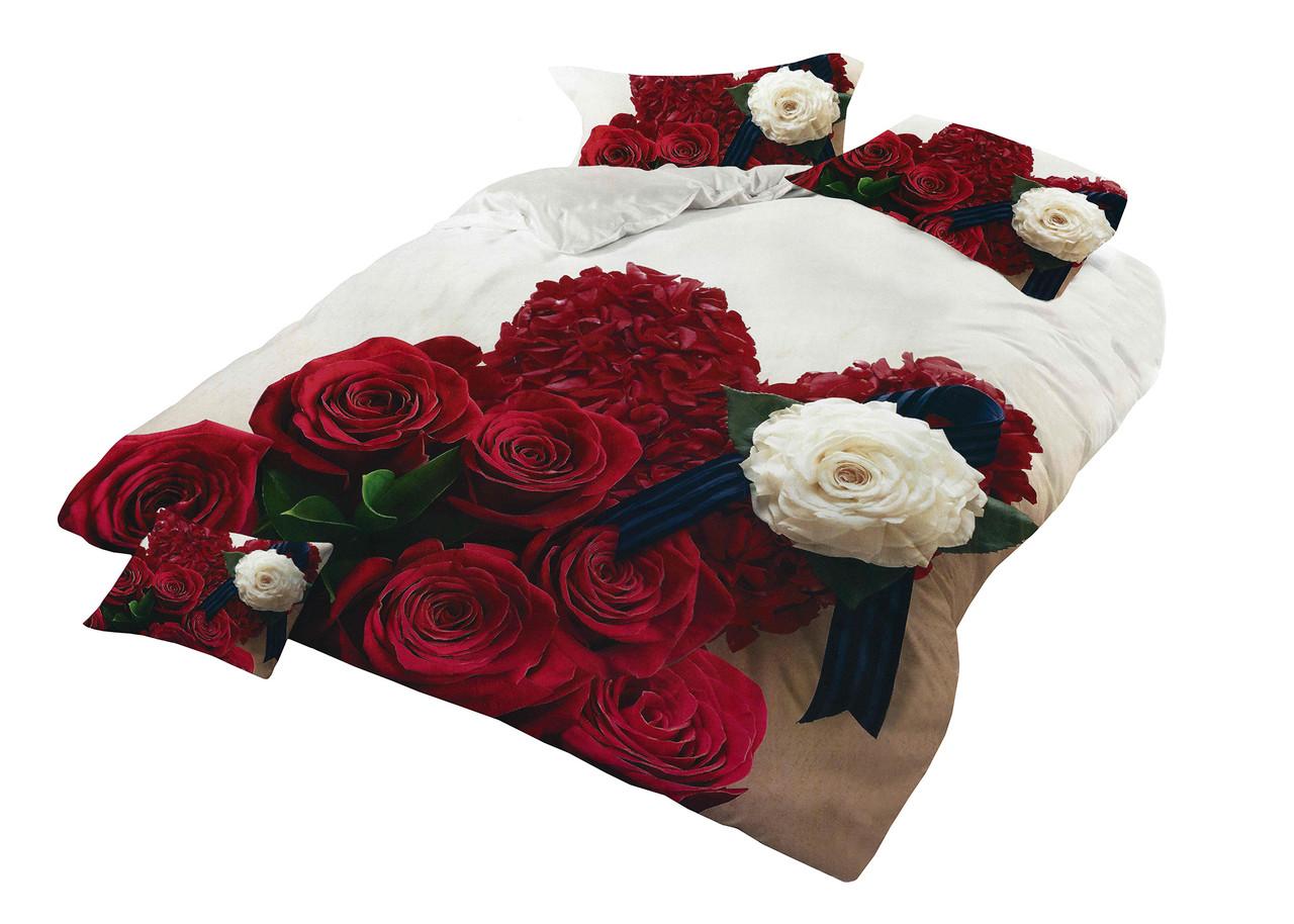Комплект постельного белья Микроволокно HXDD-764 С цветочным узором M&M 2200 Бежевый, Кремовый, Красный