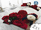 Комплект постельного белья Микроволокно HXDD-764 С цветочным узором M&M 2200 Бежевый, Кремовый, Красный, фото 2
