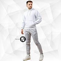 Мужской зимний спортивный костюм бело-серый