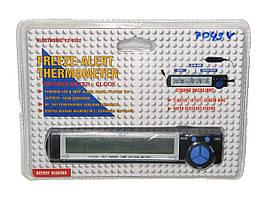 Часы 7043V +термометр внут/наруж/подсветк/вольтметр/блистер