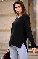 Женский свитер однотонный черный 60481