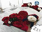 Комплект постельного белья Микроволокно HXDD-764 M&M 2408 Красный, Бежевый, Кремовый, фото 2