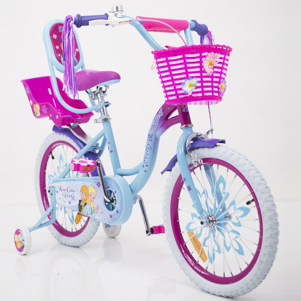 Детский двухколесный велосипед для девочки с корзинкой PRINCESS 19PS02-18 розово-голубой