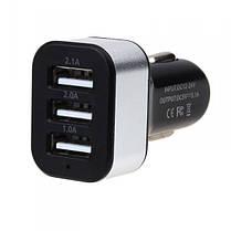 Автомобильная USB зарядка от прикуривателя 3 входа, фото 3