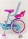 Детский двухколесный велосипед для девочки с корзинкой PRINCESS 19PS02-18 розово-голубой, фото 5