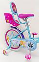 Детский двухколесный велосипед для девочки с корзинкой PRINCESS 19PS02-18 розово-голубой, фото 7
