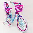 Детский двухколесный велосипед для девочки с корзинкой PRINCESS 19PS02-18 розово-голубой, фото 6