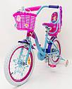 Детский двухколесный велосипед для девочки с корзинкой PRINCESS 19PS02-18 розово-голубой, фото 2