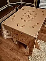 Скатерть(клеенка)   для стола на тканевой основе с золотом 120*150 см