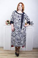 Нарядное платье батал Шарфик белый (60-66)