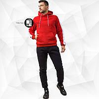 Мужской утепленный спортивный костюм красно-черный