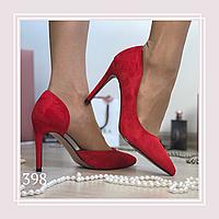 Женские туфли лодочки на шпильке, красная замша, фото 1