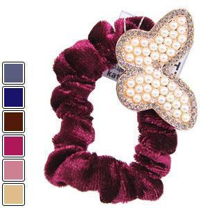 KATTi резинка для волос 32 847 средняя велюр цветная Брошь с жемчугом, стразами, фото 2