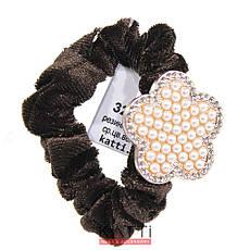 KATTi резинка для волос 32 847 средняя велюр цветная Брошь с жемчугом, стразами, фото 3