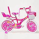 Дитячий двоколісний велосипед для дівчинки з кошиком BEAUTY 19ВВ01-18 рожевий, фото 3