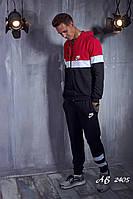 Мужской трикотажный спортивный костюм Nike штаны и кофта с капюшоном чёрный с красным 48 50 52 54