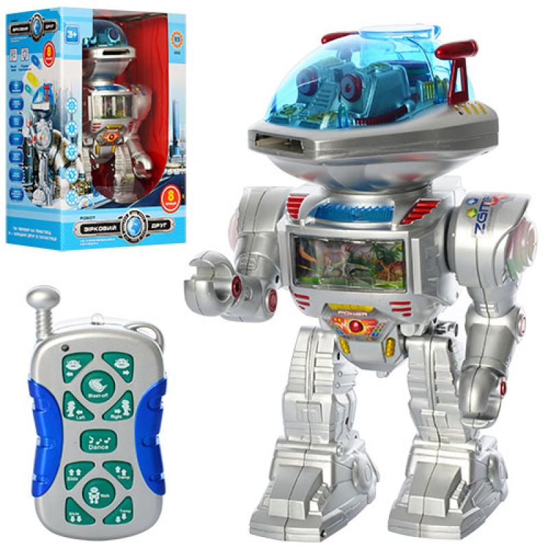 Робот р/у, стреляет дисками, танцует, звук, свет, на бат-ке, в кор-ке, 22-32-16см