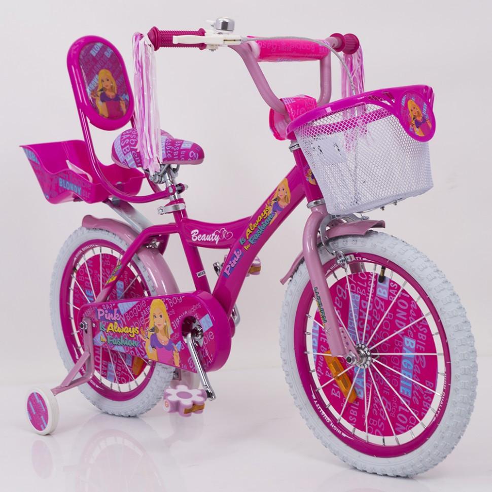 Дитячий двоколісний велосипед для дівчинки з кошиком BEAUTY 19ВВ01-18 рожевий