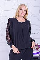 Блуза с гипюром размер плюс Беатрис черный (50-64) 58-60