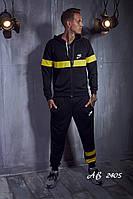 Мужской трикотажный спортивный костюм Nike штаны и кофта с капюшоном чёрный с жёлтым 48 50 52 54