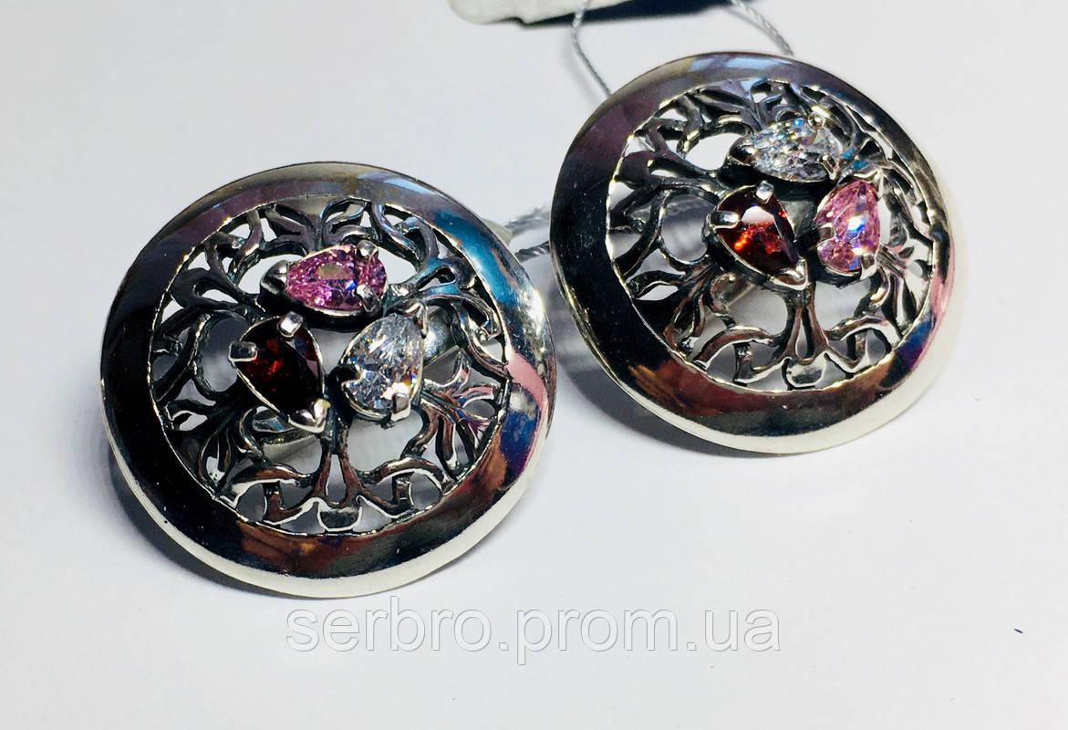 Круглые серебряные серьги с цветными фианитами Сэнс