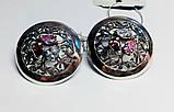 Круглые серебряные серьги с цветными фианитами Сэнс, фото 2