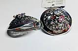 Круглые серебряные серьги с цветными фианитами Сэнс, фото 3