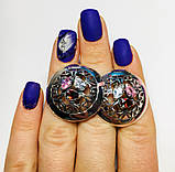 Круглые серебряные серьги с цветными фианитами Сэнс, фото 4
